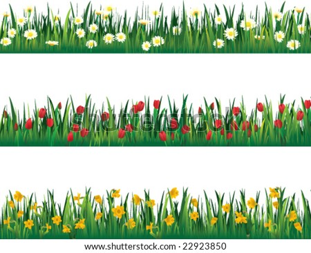 Flower Picture  on Three Flower Border Pieces   Vector   22923850   Shutterstock
