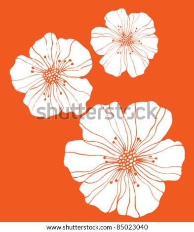three flowers on orange