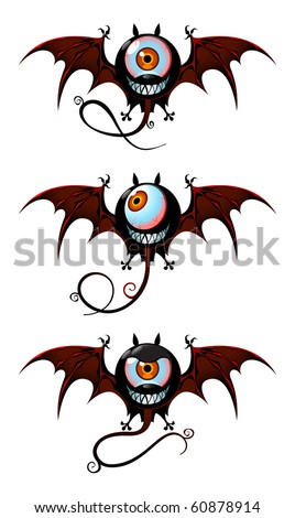 Three flying monsters - webbing wings, long tails and one-eyed faces with smiling jaws. Simple objects on white background.