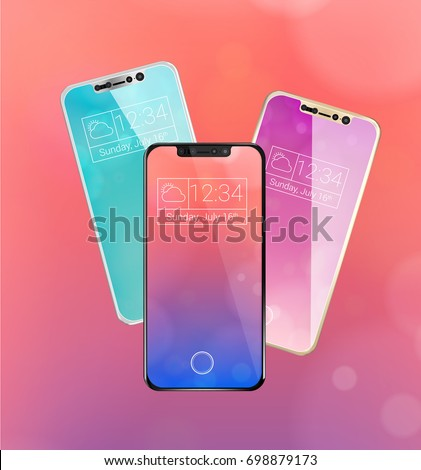 Three frameless futuristic smartphone with glossy screen in silver color, front & back, Iphone 8