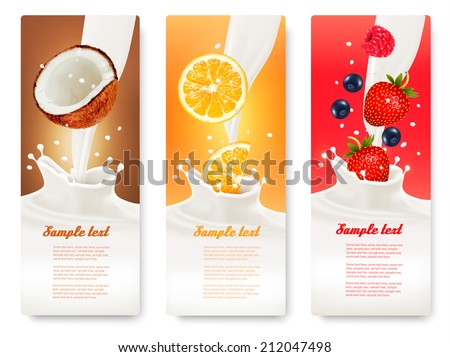 three fruit and milk banners