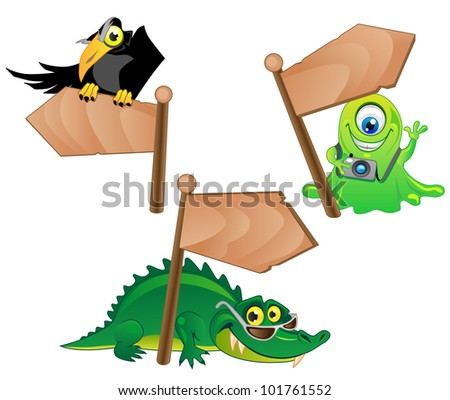 three funny cartoon characters - the Crow, Alien and Alligator with wood pointers.