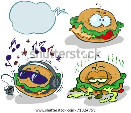 Three funny cartoon hamburgers.