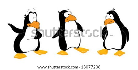 Three funny penguins look out