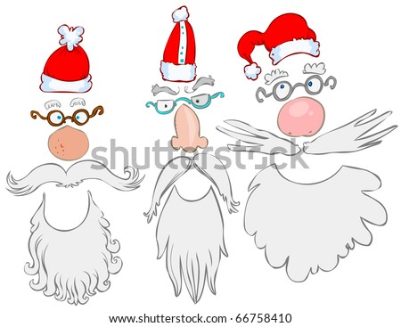 Three funny Santa Claus mask.