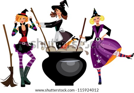 three funny witches preparing a