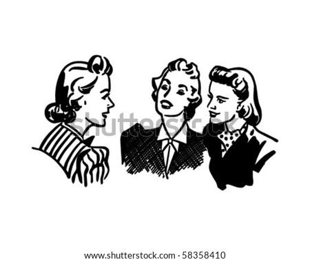 Three Gals Chatting - Retro Clip Art