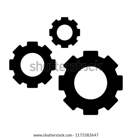 Three gears solid icon. Cogwheels vector illustration isolated on white. Cogs glyph style design, designed for web and app. Eps 10