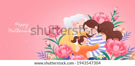 Three generations all together celebrating happy mother's day with arms holding each others and be surrounded by carnation flowers