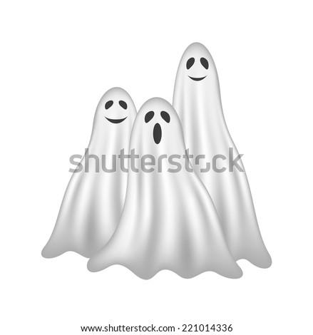 three ghosts in white design