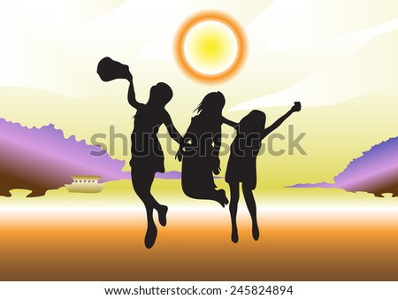 three girls silhouettes jumping