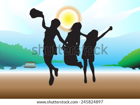 three girls silhouettes jumping
