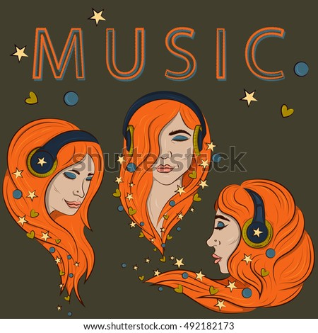 three girls with headphones