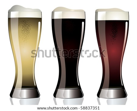 three glasses of different beer