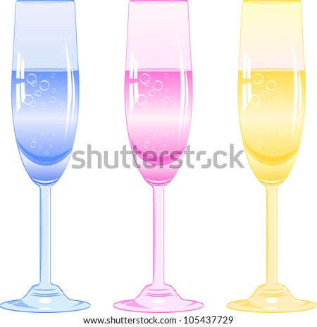 three glasses of fizzy drink of different colors. Vector illustration
