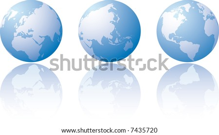Three globe world views with reflection