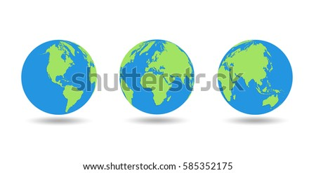 three globes showing earth with