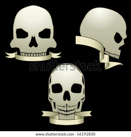 Three glossy skull graphics with stripes and banners