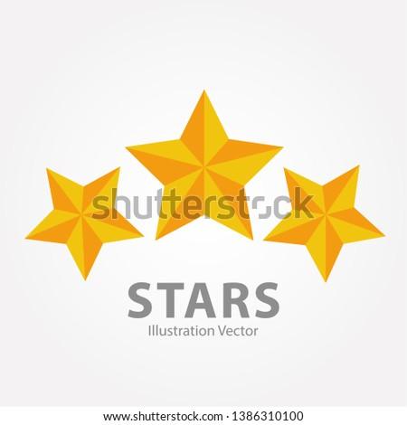 three gold stars illustration