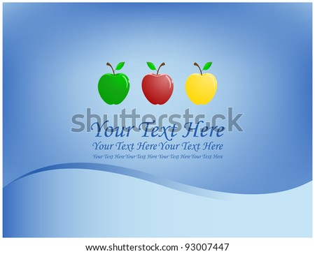 Three golden apples, green and red colors are located on an blue background - stock vector