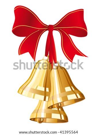 three golden christmas bells