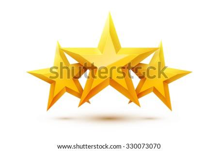 three golden stars with
