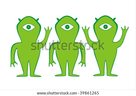 Three green alien. Can be used as logo - stock vector