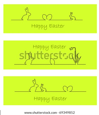 Three green banners with easter bunny, easter eggs, and daffodil - stock vector