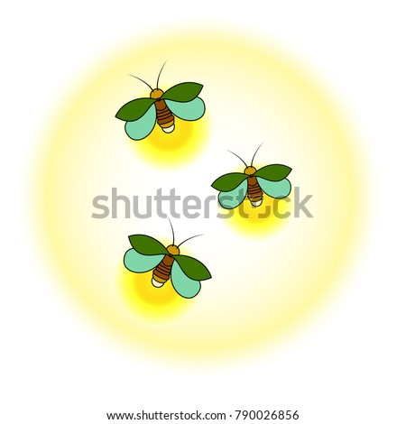 three green fireflies with a
