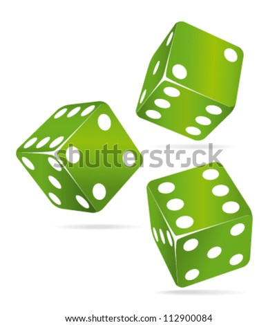 Three green rolling dices. Chance concept.
