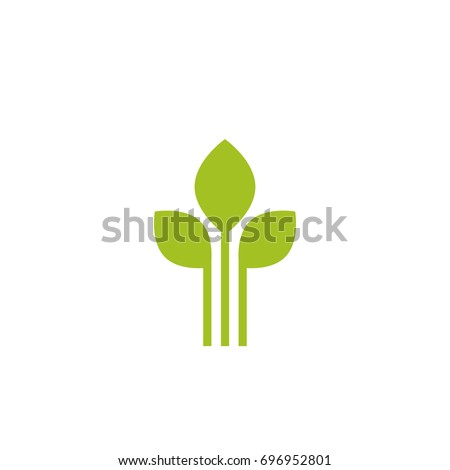 Three Green sprouts, sprigs, raw with silhouette leaf. Icon Isolated on white. Logo for eco company, agriculture, nature firm, ecology, healthy organic and farm fresh food. Vector Illustration Stockfoto ©