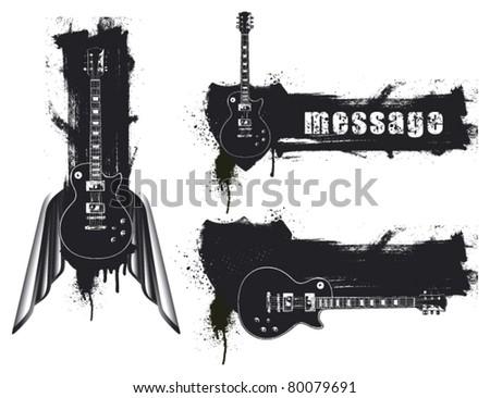 three grunge guitar banner