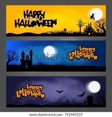 three halloween banners headers