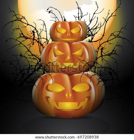 three halloween pumpkins in