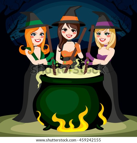 three halloween witches cooking