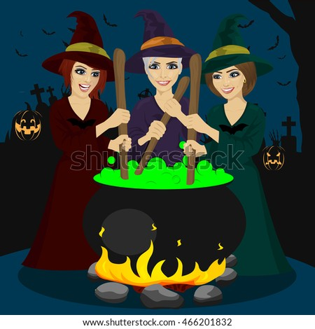 three halloween young witches