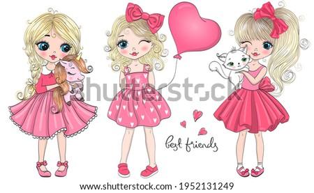 three hand drawn beautiful cute