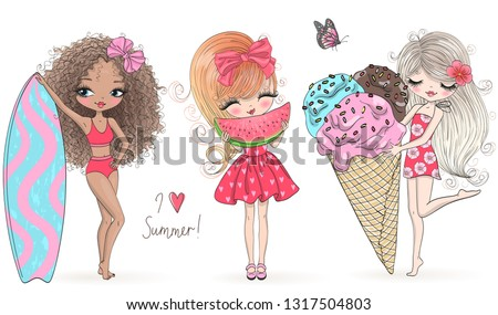 Three hand drawn beautiful cute summer girls with big ice-cream, surfboard and watermelon. Vector illustration.