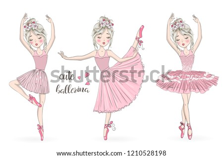 Three hand drawn beautiful, lovely, little ballerinas girl with wreaths. Vector illustration. Foto d'archivio ©