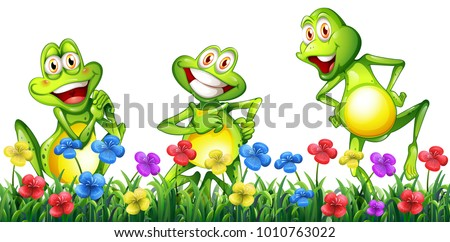 three happy frogs in flower...