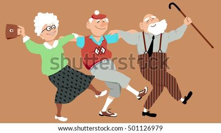 three happy seniors dancing...