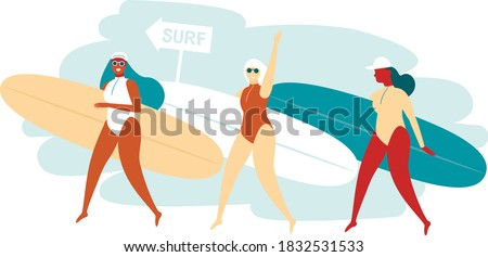 three happy surfer girls