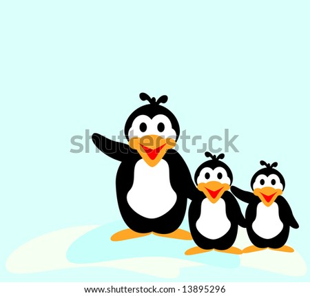 Three happy waving penguins