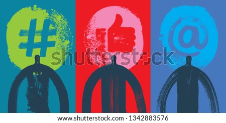 Three Head & Shoulders Silhouettes, Vector Illustration, Grunge texture, Hashtag, At sign, Hand like symbol, Colorful Background, Snapchat User, Linkedin, Technology, User experience, influencer