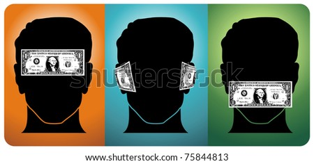 Three heads with their senses blocked by money. Vector available