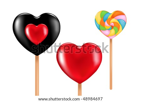 Three heart shape lollipops