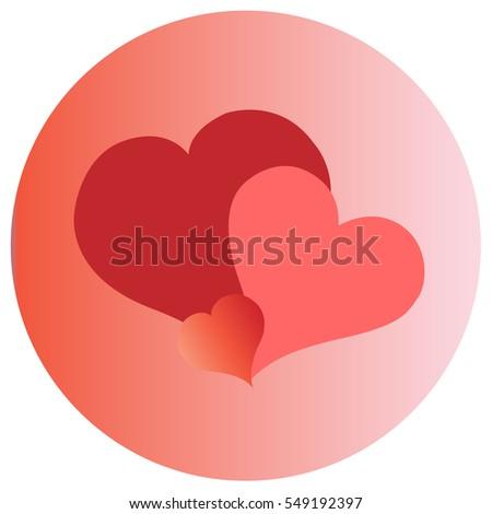 three hearts on gradient