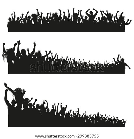Three high Quality compositions of a mixed group of male and female young people silhouettes posing as a cheering crowd for a concert or sport event.