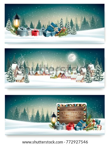 three holiday christmas banners