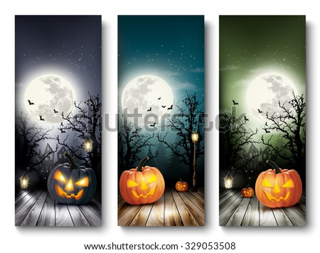 Three Holiday Halloween Banners with Pumpkins and Moon. Vector